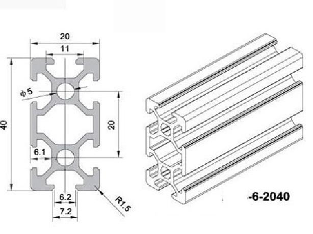 2040 european standard aluminum alloy profiles 1m long